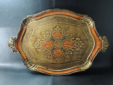 Antique Italian Florentine Wooden Tole Tray Wood Orang&Gold Platter Toleware 20""