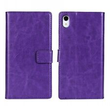 For Sony Xperia Z5 Leather Wallet Card Flip Case Cover Stand, Purple Colour