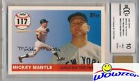 2006 Topps Home Run #117 Mickey Mantle w/WORN PANTS BECKETT 10 MINT GGUM