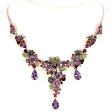 REAL AMETHYST RUBY IOLITE TSAVOLITE GARNET STERLING 925SILVER FLOWER NECKLACE 18