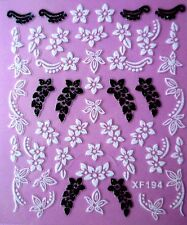 3D Nail Art Sticker White/Black Glitter Floral Redbud Blossom Bauhinia Leaves194