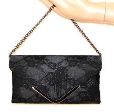 BOLSO CLUTCH bag pochette mujer encaje bordado negra elegante cadena gris G55