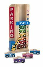 Melissa & Doug STack & Count Wooden Parking Garage & 10 Cars Toy Playset