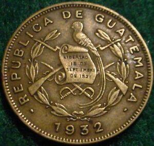 NICE GRADE 1932 1 CENTAVO GUATEMALA**NICE DETAILS**