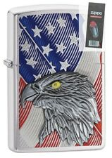 Zippo 29508 Eagle With American Flag Emblem Full Size Lighter + FLINT PACK