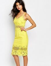 Brand New River Island Yellow Laser Cut Pencil Dress Size 6