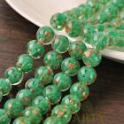New 5pcs 12mm Lampwork Glass Dots Loose Spacer Round Beads Charms Green