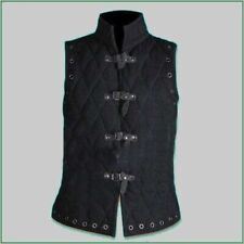 Mas Gift Thick Black Gambeson Medieval Padded collar sleeves less armor