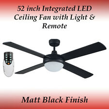 52 inch 4 Blade Matt Black LED Ceiling Fan with 24 Watt LED Panel and Remote