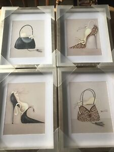 Stunning Set Of Four Marilyn Robertson Cat Pictures. Brand New.