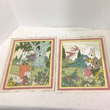 Mr Rabbit Cyrus Clark 2 Pink  Panels Storybook Fabric 10 1/2 x 12 1/2 inches