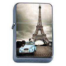 Silver Flip Top Oil Lighter Vintage Poster D 34 Eiffel Tower Car Couple Kissing
