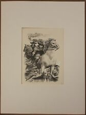 Listed Spanish American Artist Federico Castellon, Ink Drawing,'Wolf Attack'