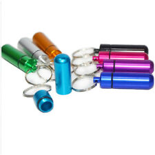 5pcs Bottle Holder WaterProof Aluminum Pill Box Container Keychain Medicine Case