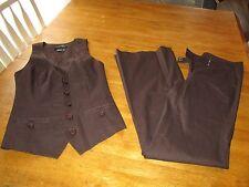 BEBE ~ Brown Vest size 2, Pants  size 0   2 Piece Set