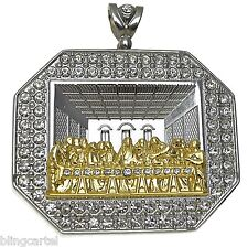 Last Supper 3D Jesus Piece Silver Tone & Gold Finish Octagonal Iced-Out Pendant