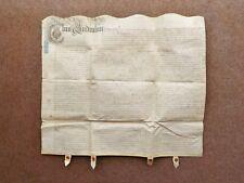 1710 Wigginton Tamworth Staffordshire Vellum Deed Indenture Marriage Settlement