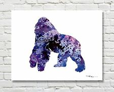 Gorilla Abstract Watercolor Painting Wildlife Art Print by Artist DJ Rogers