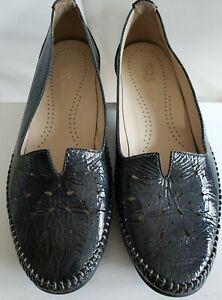 SAS Sonyo Mood (Blue) Patent Leather V Cutout Moc Shoes Tri Pad Comfort 9 Wide