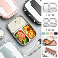 3/4 Grid Stainless Thermal Insulated Lunch Box Bento Food Container Women