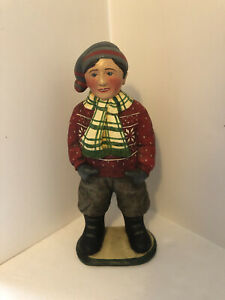 """LEO SMITH OUR TOWN CHRISTMAS KIDS - BOY - DEPT. 56 - RETIRED - 12.5"""" TALL"""