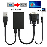 VGA Male To HDMI Output 1080P HD+Audio AV HDTV Video Cable Converter Adapter RF