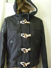 NEW £125 SUPERDRY XSMALL SIZE 8 WOOL BLEND CHARCOAL GAME DUFFLE JACKET