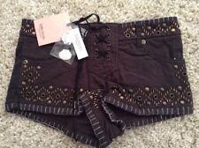 Kate Moss TOPSHOP Studded Hot Pants Size 8 Festival Boho Shorts New RRP £50