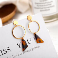 Fashion Women Acrylic Hollow Round Geometric Dangle Statement Earrings Jewelry