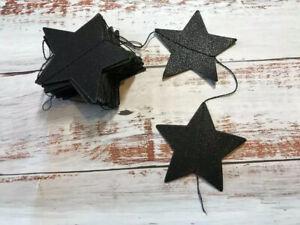 Star Bunting Garland Black Glitter Wedding Party Decor Event Prop 4m 🖤⭐️