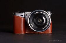 Fait main marron en cuir véritable demi Caméra Sac étui Pour Sony NEX5T NEX5R