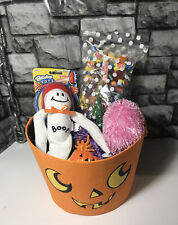 Large Filled Halloween Gift Basket, Candy, Plush Monsters, Toy Pumpkin Wrapped
