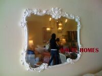 """NEW FRENCH LARGE 44"""" ORNATE FLORAL SCROLL WHITE SHABBY CHIC Wall BUFFET Mirror"""