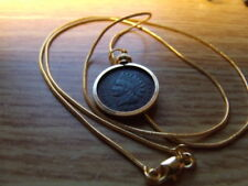"""1902 Indian head Penny Gold Filled Pendant on a 24"""" 18K Gold Filled Snake Chain"""
