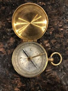 Vintage Antique Brass French Pocket Compass that was my grandfather's- 1900's