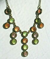 "Vintage 16"" Multi Colored Glass Gold Tone Bib Choker Necklace"