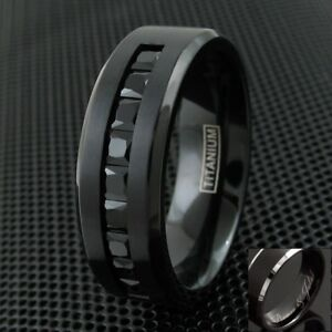 Engraved Black Titanium Men's 1.8 Carat Black Princess Cut CZ Wedding Band Ring