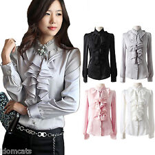 Shiny womens Satin Blouse Long Sleeve Button shirt Party Career Office Top Size