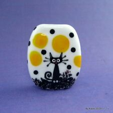 """""""SIR SINISTER PAWS"""" a handmade lampwork glass HAPPY CAT focal bead byKayo SRA"""
