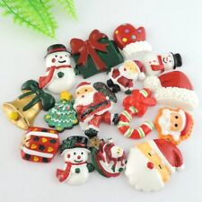 15pcs Mixed Resin Christmas Series Snowman Bell Flatback Cabochons Accessories