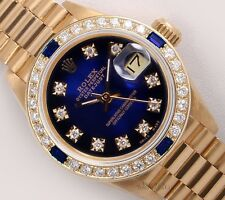 Rolex Lady President 18k-Blue Vignette Diamond Dial Sapphire Diamond Bezel 26mm