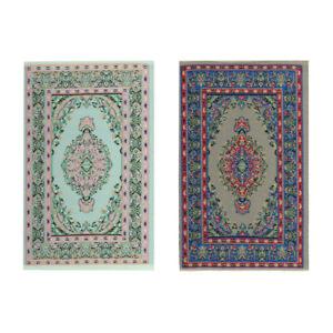 1/12 Dolls House Miniature Rug Turkish Style Carpet Area Rug Room Decor 2pcs