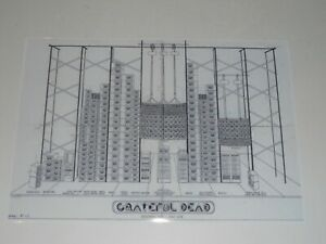 """Large Grateful Dead Wall of Sound Schematic 1974 Hollywood Bowl Poster 19""""x13"""""""