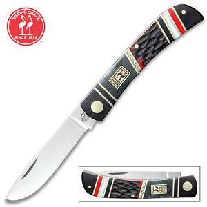 Kissing Crane 5586 Red Dawg Pocket Farmer Knife 440 SS Blade Bone Handles