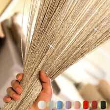 200x100cm String Curtain Bead Shiny Tassel Fringe Window Door Divider Room Decor