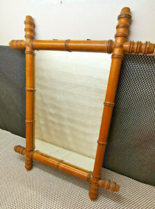 Antique Great Mirror Framework Wooden Turned Imitation Bamboo Asian Vintage Deco