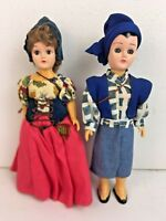 "Vintage Dutch / Netherlands?  Pair of Boy Girl Hansel Gretel Folk Art 8"" Dolls"