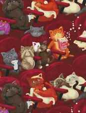 Fabric Cats Watching Scary Movie Black Cotton TIMELESS TREASURES 1/4 yard 8141