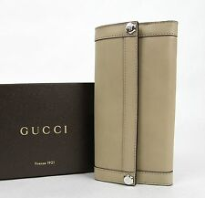 New Gucci Beige Leather Charmy Clutch Continental Wallet 231839 2609