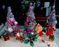 Vintage 2 Decorated Bottle Brush 1 Tinsel Christmas Trees Pixie Elf Gifts Angel